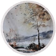 Watercolor 010103 Round Beach Towel