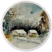 Watercolor 012102 Round Beach Towel