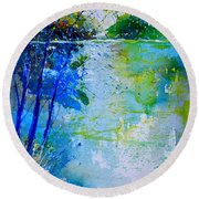 Watercolor 012112 Round Beach Towel