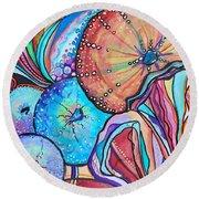 Watercolor #4 Sea Urchins Round Beach Towel