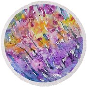 Watercolor - Abstract Flower Garden Round Beach Towel