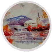 Watercolor Anseremme Round Beach Towel
