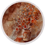 Watercolor Autumn Bunch Round Beach Towel