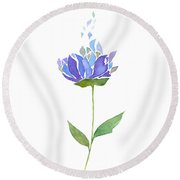 Watercolor Blue And Purple Flower Round Beach Towel