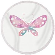Watercolor Butterfly 1- Art By Linda Woods Round Beach Towel