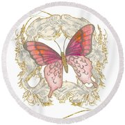 Watercolor Butterfly With Vintage Swirl Scroll Flourishes Round Beach Towel