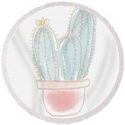 Watercolor Cactus- Art By Linda Woods Round Beach Towel