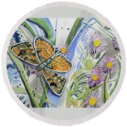 Watercolor - Checkerspot Butterfly With Wildflowers Round Beach Towel by Cascade Colors