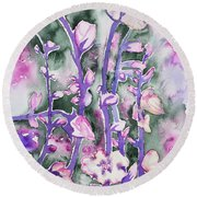Watercolor - Cherry Blossoms Round Beach Towel