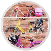 Watercolor Collage Of Three Bicycles In Triptych Round Beach Towel