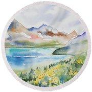 Watercolor - Colorado Alpine Landscape Round Beach Towel