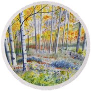 Watercolor - Colorado Autumn Forest And Landscape Round Beach Towel