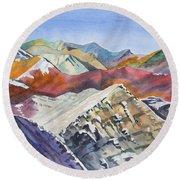 Watercolor - Colorado Elk Range View Round Beach Towel
