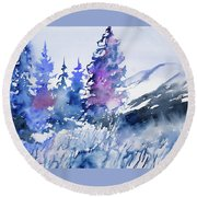 Watercolor - Colorado Winter Wonderland Round Beach Towel