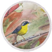 Watercolor - Common Yellowthroat Round Beach Towel