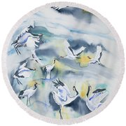 Watercolor - Crane Ballet Round Beach Towel