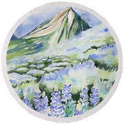 Watercolor - Crested Butte Lupine Landscape Round Beach Towel by Cascade Colors