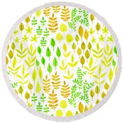 Watercolor Doodle Leaves Pattern White  Round Beach Towel
