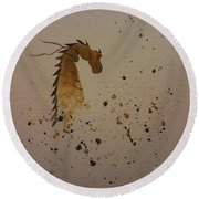 Watercolor Dragon Round Beach Towel by Ginny Youngblood