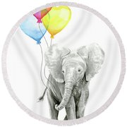 Watercolor Elephant With Heart Shaped Balloons Round Beach Towel by Olga Shvartsur