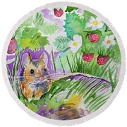 Watercolor - Field Mouse With Wild Strawberries Round Beach Towel