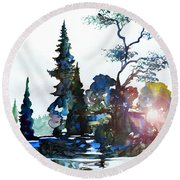 Watercolor Forest And Pond Round Beach Towel