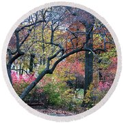 Watercolor Forest Round Beach Towel