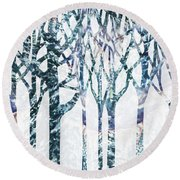 Watercolor Forest Silhouette Winter Round Beach Towel