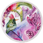 Watercolor - Frilled Coquette Hummingbird With Colorful Background Round Beach Towel