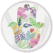 Watercolor Garden Hamsa- Art By Linda Woods Round Beach Towel