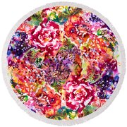 Watercolor Garden IIi Round Beach Towel