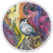 Watercolor - Gray Catbird Round Beach Towel