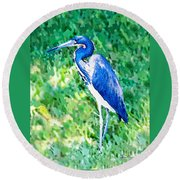 Watercolor Heron In Grass Round Beach Towel