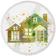 Watercolor Houses Round Beach Towel