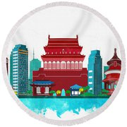 Watercolor Illustration Of Beijing Round Beach Towel