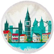 Watercolor Illustration Of London Round Beach Towel