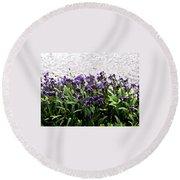 Watercolor Iris  Round Beach Towel