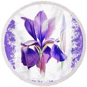 Watercolor Iris Painting Round Beach Towel
