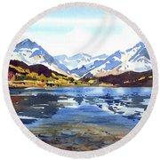 Watercolor Lake Reflection Round Beach Towel