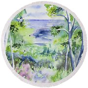 Watercolor - Lake Superior Impression Round Beach Towel