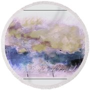 Watercolor Landscape Round Beach Towel