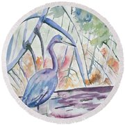 Watercolor - Little Blue Heron In Mangrove Forest Round Beach Towel
