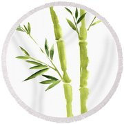 Bamboo Stick Wall Paper Art, Watercolor Living Room Decor Illustration, Green Bamboo Leaves Painting Round Beach Towel