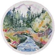 Watercolor - Long's Peak Autumn Landscape Round Beach Towel