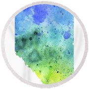 Watercolor Map Of Alberta, Canada In Blue And Green  Round Beach Towel