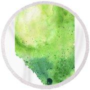 Watercolor Map Of Alberta, Canada In Green  Round Beach Towel