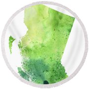 Watercolor Map Of British Columbia, Canada In Green  Round Beach Towel