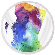 Watercolor Map Of British Columbia, Canada In Rainbow Colors  Round Beach Towel