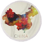 Watercolor Map Of China Round Beach Towel