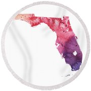 Watercolor Map Of Florida,  In Orange, Red And Purple  Round Beach Towel